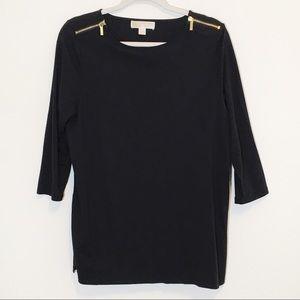 Michael Kors Black 3/4 Sleeve Gold Zip Top XL